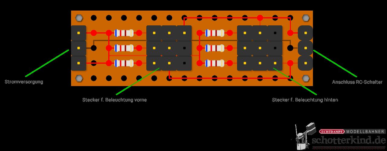 Lichtwechsel bei Fahrtrichtungsumkehr für die Modellbahn